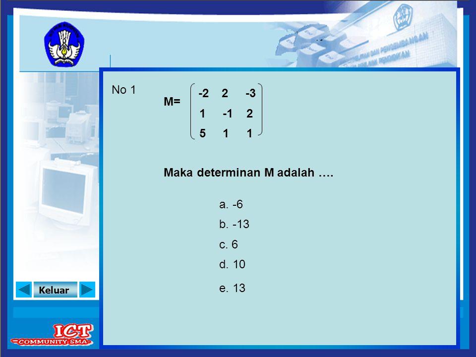 Keluar b. -13 a. -6 No 1 M= -2 1 Maka determinan M adalah …. c. 6 d. 10 e. 13 5 -3 2 1 2 1
