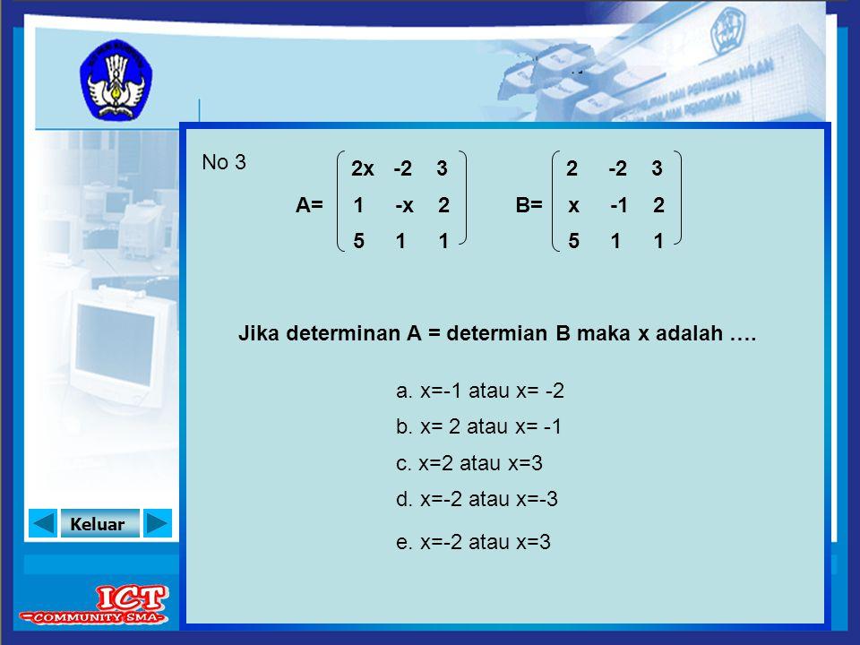 Keluar No 3 b. x= 2 atau x= -1 a. x=-1 atau x= -2 A= Jika determinan A = determian B maka x adalah …. c. x=2 atau x=3 d. x=-2 atau x=-3 e. x=-2 atau x