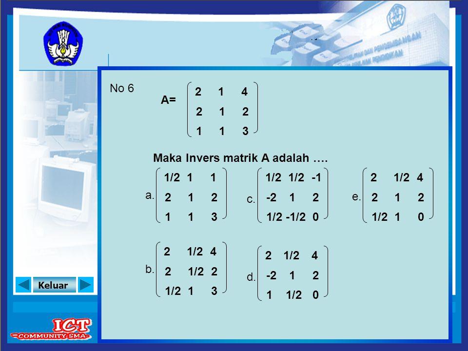 Keluar No 6 A= Maka Invers matrik A adalah …. a. b. e. c. d. 2 2 1 4 2 3 1 1 1 1/2 2 1 1 2 3 1 1 1 2 2 4 2 3 1 -2 1/2 2 0 1/2 1 -1/2 2 -2 1 4 2 0 1/2