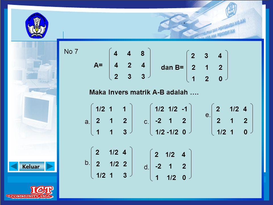 Keluar No 7 A= Maka Invers matrik A-B adalah …. a. e. 4 4 2 8 4 3 4 2 3 dan B= 2 2 1 4 2 0 3 1 2 b. c. d. 1/2 2 1 1 2 3 1 1 1 2 2 4 2 3 1 -2 1/2 2 0 1