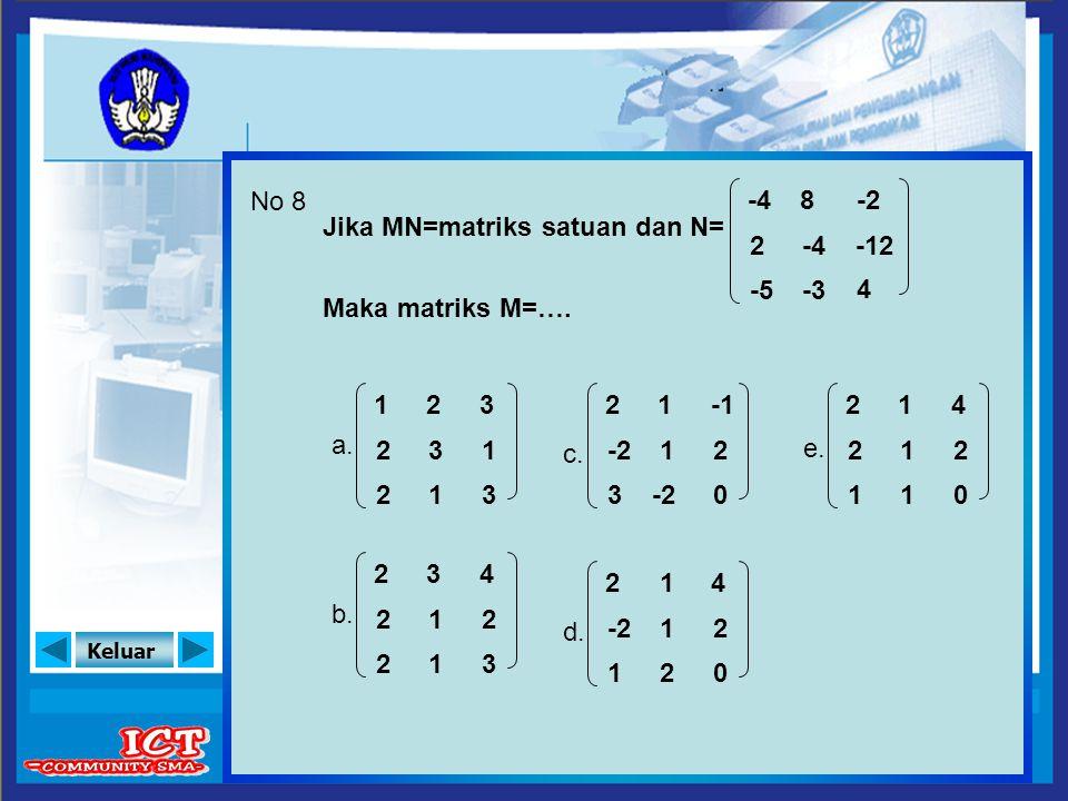 Keluar No 8 Jika MN=matriks satuan dan N= Maka matriks M=…. a. b. e. c. d. 1 2 2 3 1 3 2 3 1 2 2 2 4 2 3 3 1 1 2 -2 3 2 0 1 1 -2 2 1 4 2 0 1 1 2 2 2 1