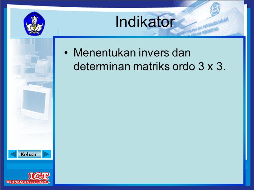 Keluar Indikator Menentukan invers dan determinan matriks ordo 3 x 3.