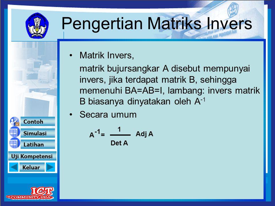 Keluar Pengertian Matriks Invers Matrik Invers, matrik bujursangkar A disebut mempunyai invers, jika terdapat matrik B, sehingga memenuhi BA=AB=I, lam