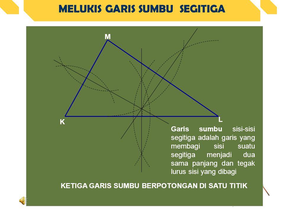 MELUKIS GARIS SUMBU SEGITIGA KETIGA GARIS SUMBU BERPOTONGAN DI SATU TITIK K L M Garis sumbu sisi-sisi segitiga adalah garis yang membagi sisi suatu segitiga menjadi dua sama panjang dan tegak lurus sisi yang dibagi