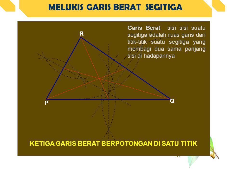 MELUKIS GARIS BERAT SEGITIGA KETIGA GARIS BERAT BERPOTONGAN DI SATU TITIK P Q R Garis Berat sisi sisi suatu segitiga adalah ruas garis dari titik-titik suatu segitiga yang membagi dua sama panjang sisi di hadapannya
