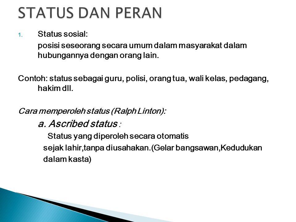 1. Status sosial: posisi seseorang secara umum dalam masyarakat dalam hubungannya dengan orang lain. Contoh: status sebagai guru, polisi, orang tua, w