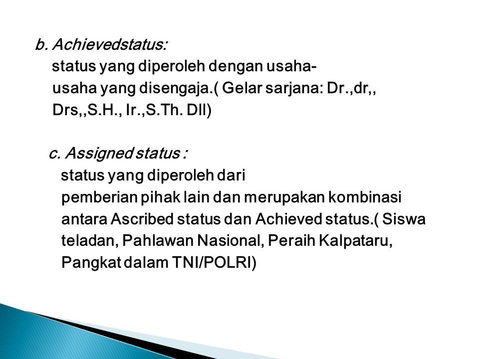 b. Achievedstatus: status yang diperoleh dengan usaha- usaha yang disengaja.( Gelar sarjana: Dr.,dr,, Drs,,S.H., Ir.,S.Th. Dll) c. Assigned status : s