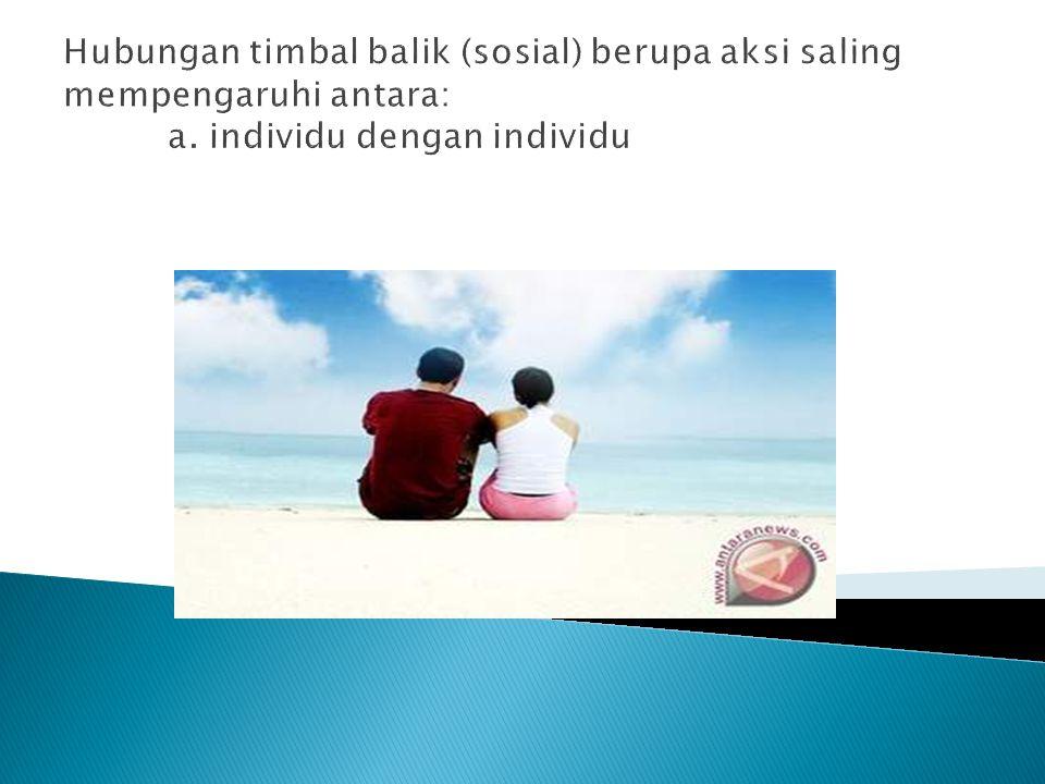 Hubungan timbal balik (sosial) berupa aksi saling mempengaruhi antara: a. individu dengan individu