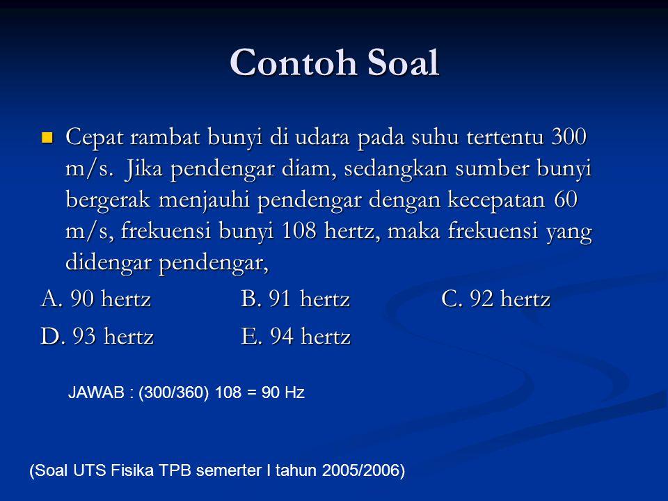 Contoh Soal Cepat rambat bunyi di udara pada suhu tertentu 300 m/s. Jika pendengar diam, sedangkan sumber bunyi bergerak menjauhi pendengar dengan kec
