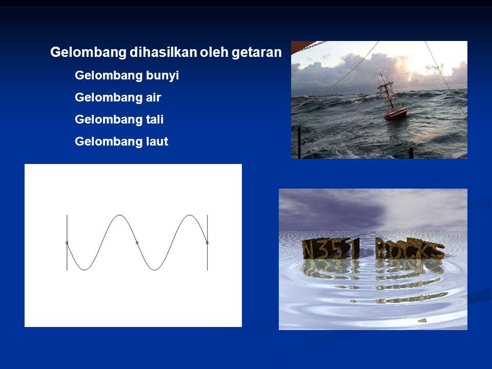 Gelombang dihasilkan oleh getaran Gelombang bunyi Gelombang air Gelombang tali Gelombang laut