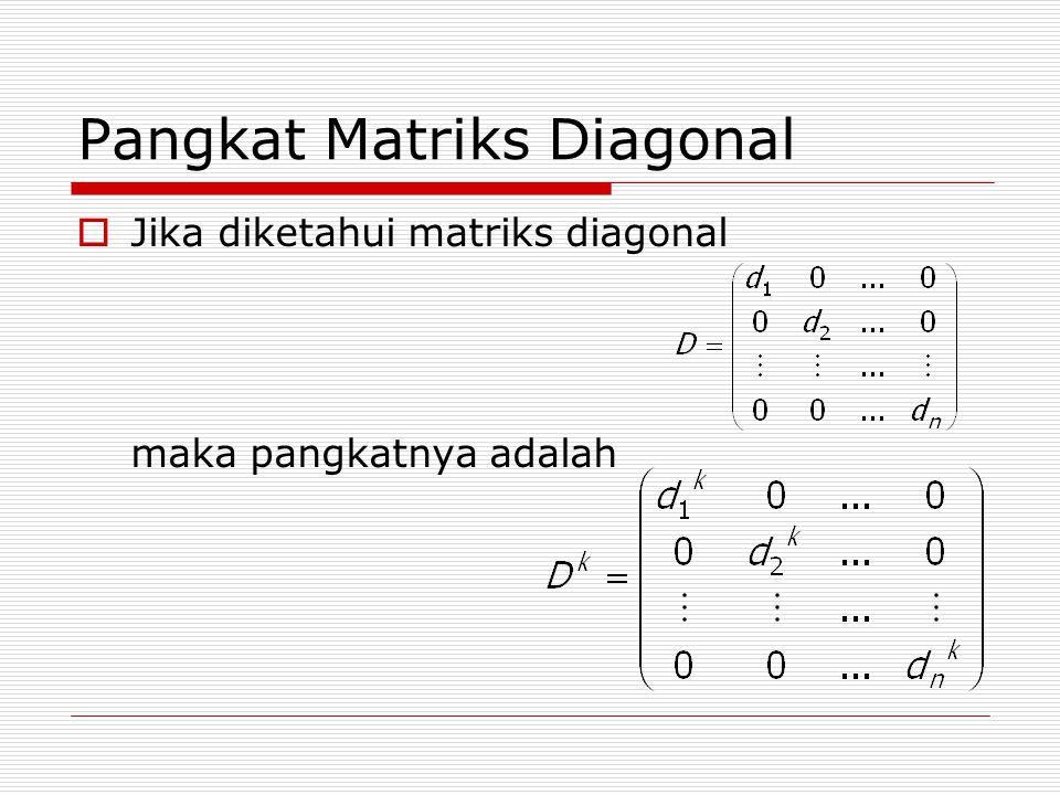 Pangkat Matriks Diagonal  Jika diketahui matriks diagonal maka pangkatnya adalah