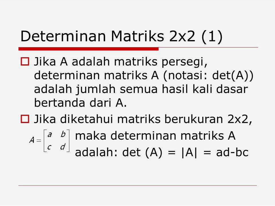 Determinan Matriks 2x2 (1)  Jika A adalah matriks persegi, determinan matriks A (notasi: det(A)) adalah jumlah semua hasil kali dasar bertanda dari A