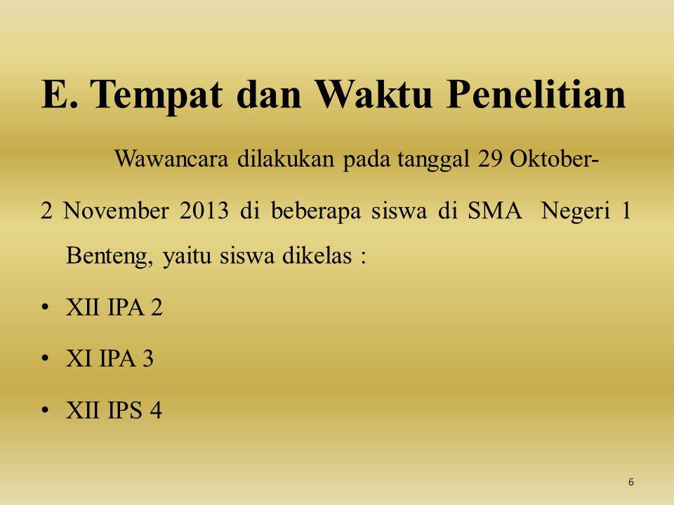 E. Tempat dan Waktu Penelitian Wawancara dilakukan pada tanggal 29 Oktober- 2 November 2013 di beberapa siswa di SMA Negeri 1 Benteng, yaitu siswa dik