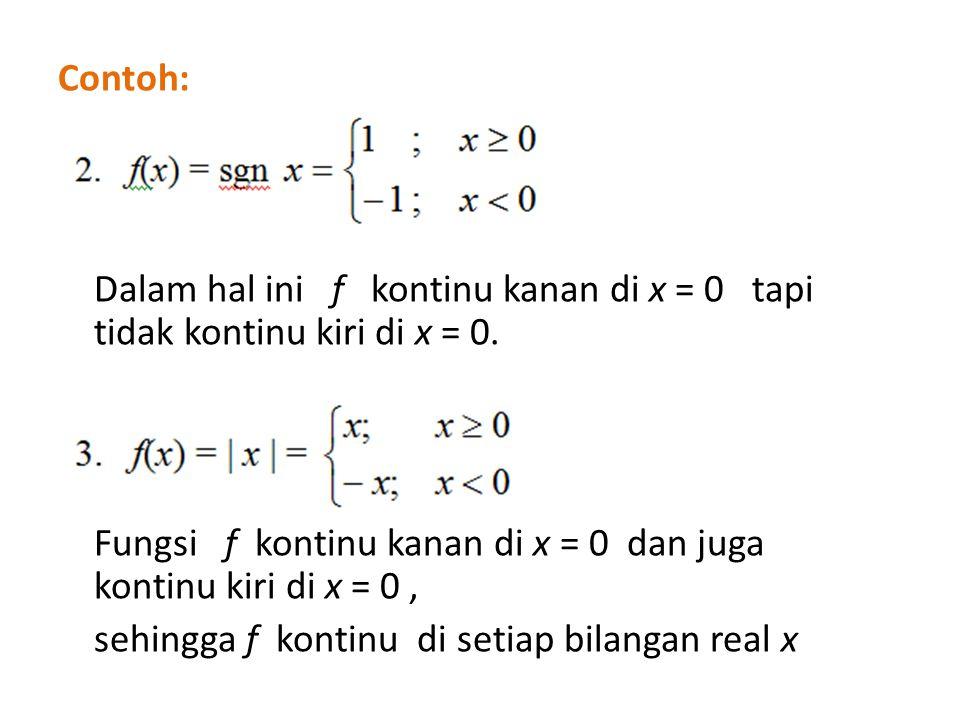 Contoh: Dalam hal ini f kontinu kanan di x = 0 tapi tidak kontinu kiri di x = 0. Fungsi f kontinu kanan di x = 0 dan juga kontinu kiri di x = 0, sehin