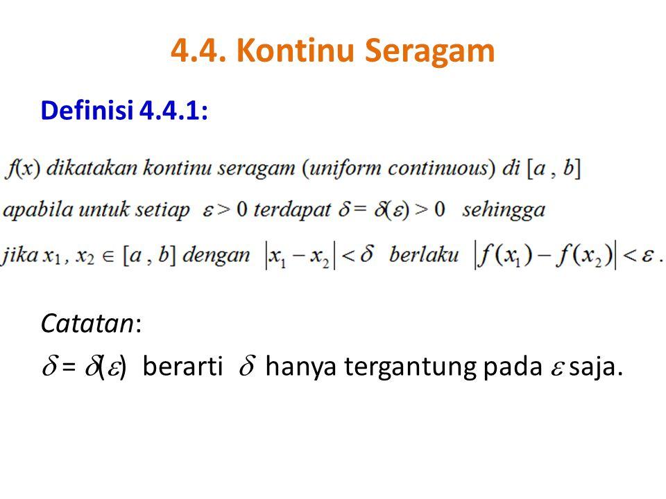 4.4. Kontinu Seragam Definisi 4.4.1: Catatan:  =  (  ) berarti  hanya tergantung pada  saja.