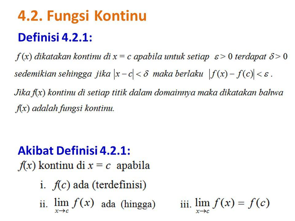 4.2. Fungsi Kontinu Definisi 4.2.1: Akibat Definisi 4.2.1: