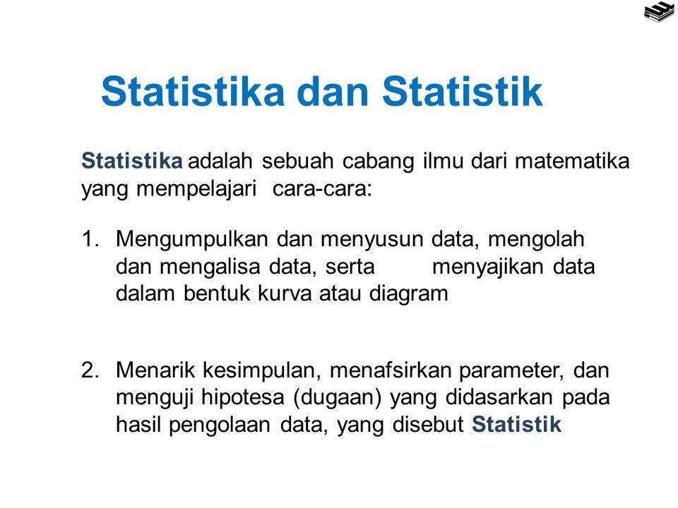 Statistika dan Statistik Statistika adalah sebuah cabang ilmu dari matematika yang mempelajari cara-cara: 1.Mengumpulkan dan menyusun data, mengolah dan mengalisa data, serta menyajikan data dalam bentuk kurva atau diagram 2.Menarik kesimpulan, menafsirkan parameter, dan menguji hipotesa (dugaan) yang didasarkan pada hasil pengolaan data, yang disebut Statistik