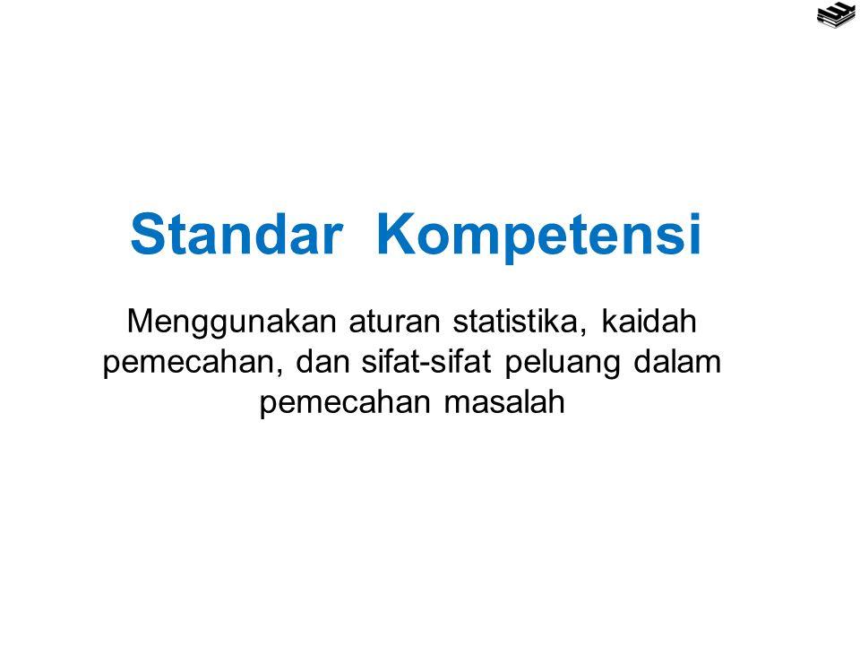 Standar Kompetensi Menggunakan aturan statistika, kaidah pemecahan, dan sifat-sifat peluang dalam pemecahan masalah