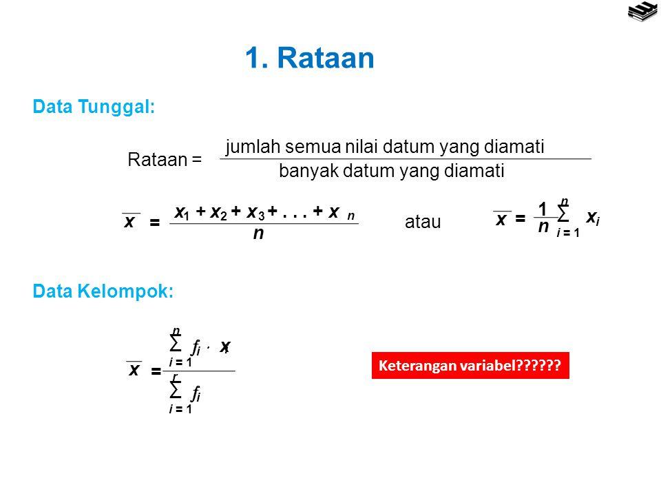 1. Rataan Data Tunggal: Rataan = jumlah semua nilai datum yang diamati banyak datum yang diamati x + x + x +... + x 123 n n x = x= n 1 ∑ n i = 1 x i a
