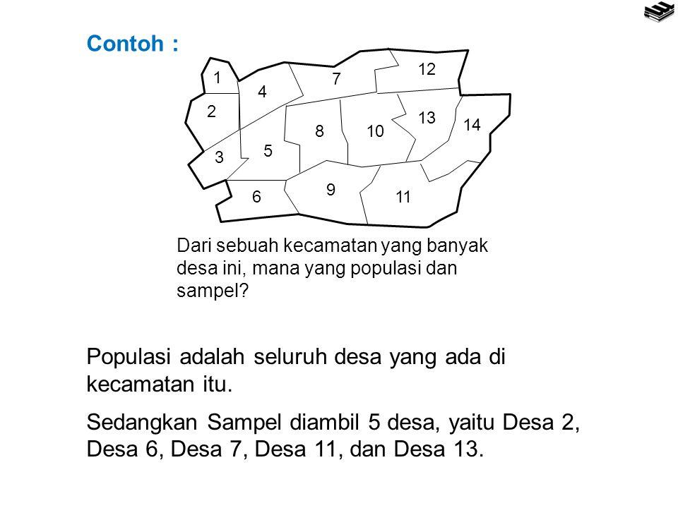 1 2 3 4 5 6 7 8 9 10 11 12 13 14 Populasi adalah seluruh desa yang ada di kecamatan itu. Sedangkan Sampel diambil 5 desa, yaitu Desa 2, Desa 6, Desa 7