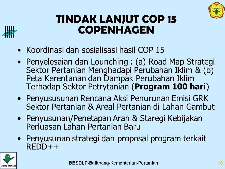 BBSDLP-Balitbang-Kementerian-Pertanian10 Koordinasi dan sosialisasi hasil COP 15 Penyelesaian dan Lounching : (a) Road Map Strategi Sektor Pertanian M