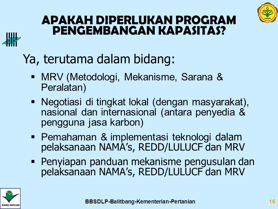 BBSDLP-Balitbang-Kementerian-Pertanian16 APAKAH DIPERLUKAN PROGRAM PENGEMBANGAN KAPASITAS?  MRV (Metodologi, Mekanisme, Sarana & Peralatan)  Negotia
