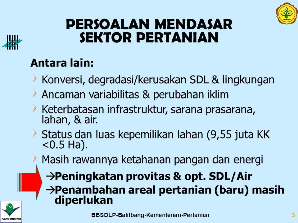 BBSDLP-Balitbang-Kementerian-Pertanian3 PERSOALAN MENDASAR SEKTOR PERTANIAN Antara lain: Konversi, degradasi/kerusakan SDL & lingkungan Ancaman variab