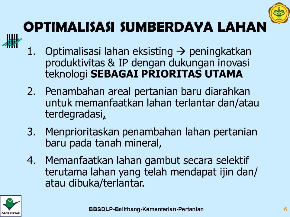 BBSDLP-Balitbang-Kementerian-Pertanian6 1.Optimalisasi lahan eksisting  peningkatkan produktivitas & IP dengan dukungan inovasi teknologi SEBAGAI PRI