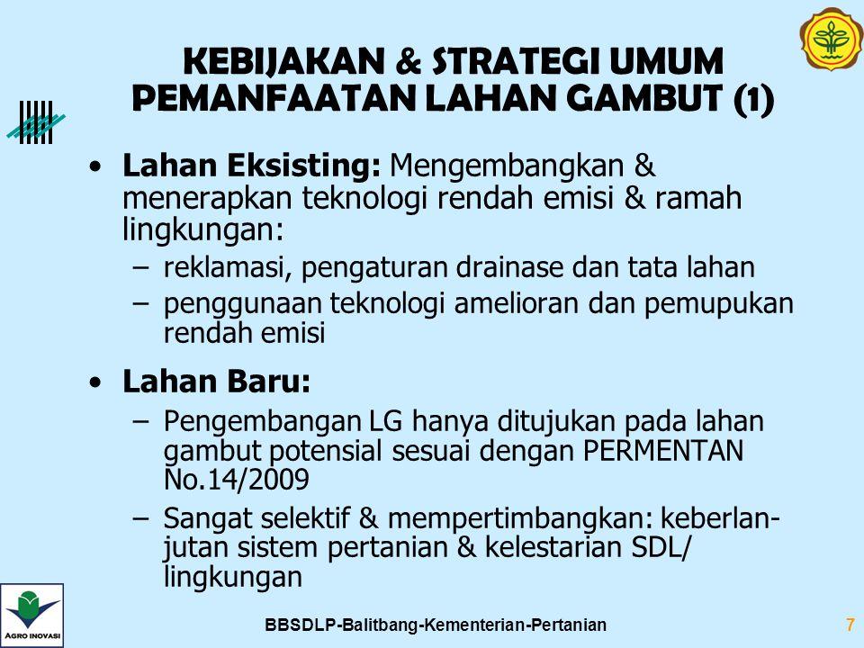 BBSDLP-Balitbang-Kementerian-Pertanian7 Lahan Eksisting: Mengembangkan & menerapkan teknologi rendah emisi & ramah lingkungan: –reklamasi, pengaturan