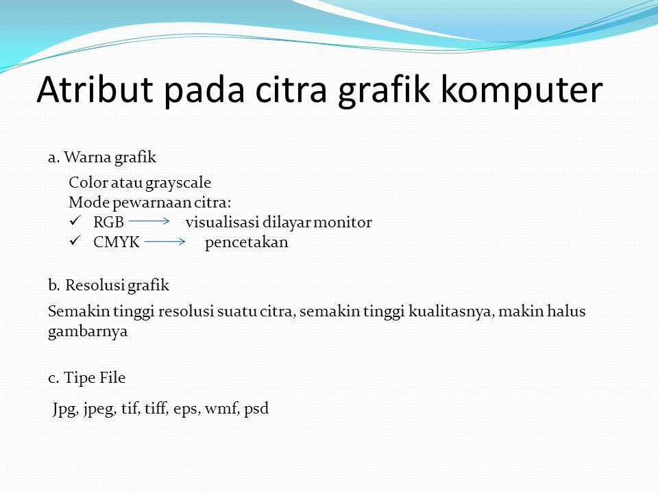 Program aplikasi pengolah grafis Grafik VektorGrafik Bitmap CorelDrawAdobePhotoshop Macromedia FreehandPaint AutocadCorelPhotopaint Adobe IlustratorGIMP openOffice.org.Draw