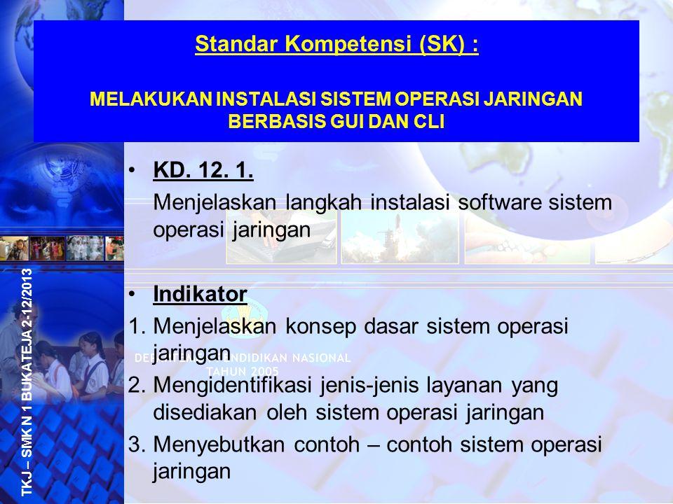 Standar Kompetensi (SK) : MELAKUKAN INSTALASI SISTEM OPERASI JARINGAN BERBASIS GUI DAN CLI KD. 12. 1. Menjelaskan langkah instalasi software sistem op