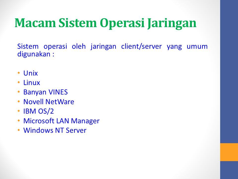 Macam Sistem Operasi Jaringan Sistem operasi oleh jaringan client/server yang umum digunakan : Unix Linux Banyan VINES Novell NetWare IBM OS/2 Microso