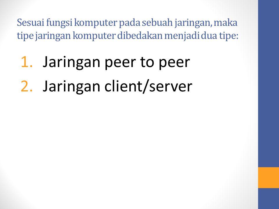 Sesuai fungsi komputer pada sebuah jaringan, maka tipe jaringan komputer dibedakan menjadi dua tipe: 1.Jaringan peer to peer 2.Jaringan client/server