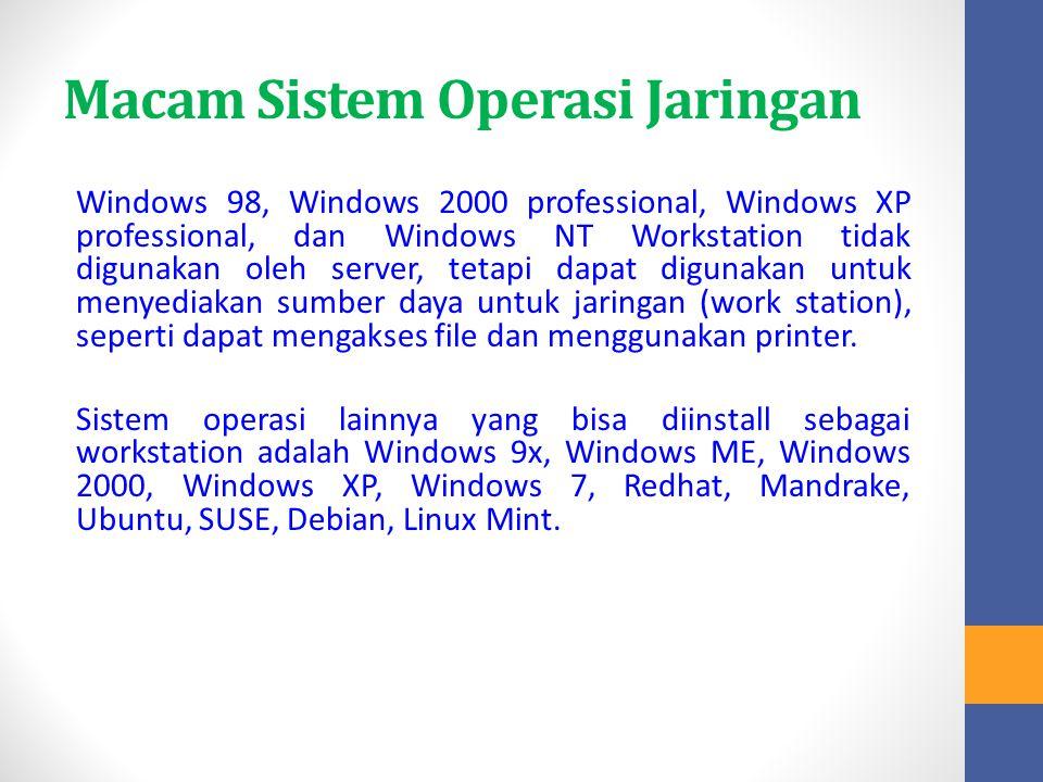 Macam Sistem Operasi Jaringan Windows 98, Windows 2000 professional, Windows XP professional, dan Windows NT Workstation tidak digunakan oleh server,