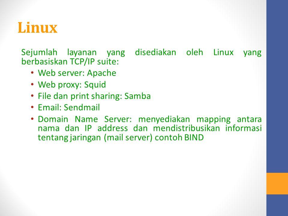 Linux Sejumlah layanan yang disediakan oleh Linux yang berbasiskan TCP/IP suite: Web server: Apache Web proxy: Squid File dan print sharing: Samba Ema