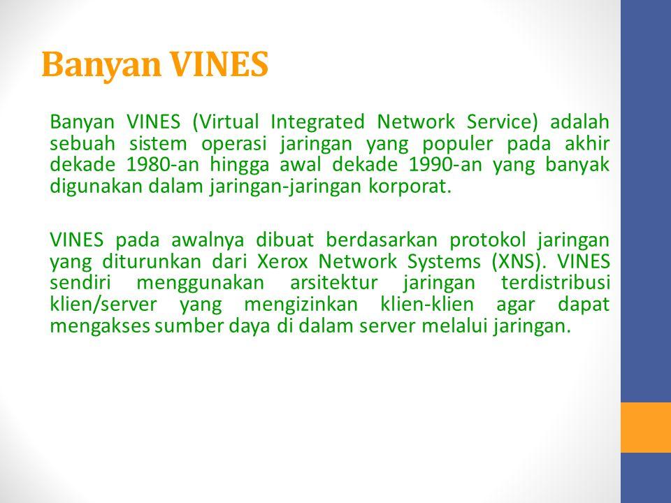Banyan VINES Banyan VINES (Virtual Integrated Network Service) adalah sebuah sistem operasi jaringan yang populer pada akhir dekade 1980-an hingga awa
