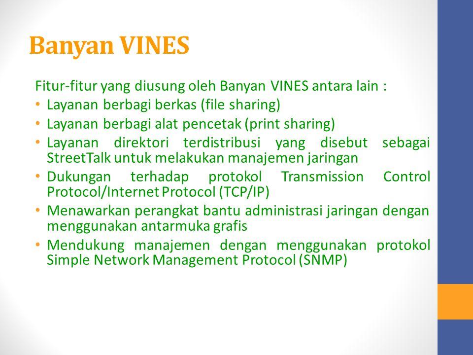 Banyan VINES Fitur-fitur yang diusung oleh Banyan VINES antara lain : Layanan berbagi berkas (file sharing) Layanan berbagi alat pencetak (print shari