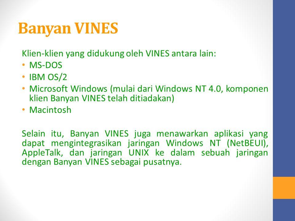 Banyan VINES Klien-klien yang didukung oleh VINES antara lain: MS-DOS IBM OS/2 Microsoft Windows (mulai dari Windows NT 4.0, komponen klien Banyan VIN