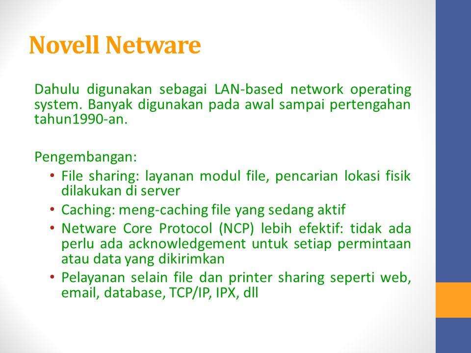 Novell Netware Dahulu digunakan sebagai LAN-based network operating system. Banyak digunakan pada awal sampai pertengahan tahun1990-an. Pengembangan: