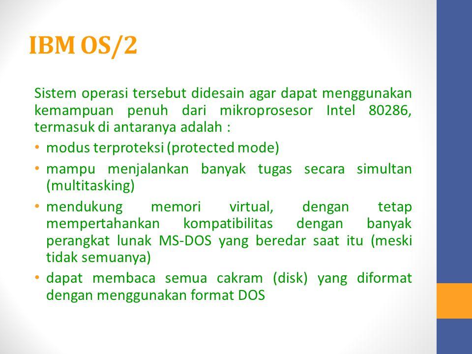 IBM OS/2 Sistem operasi tersebut didesain agar dapat menggunakan kemampuan penuh dari mikroprosesor Intel 80286, termasuk di antaranya adalah : modus