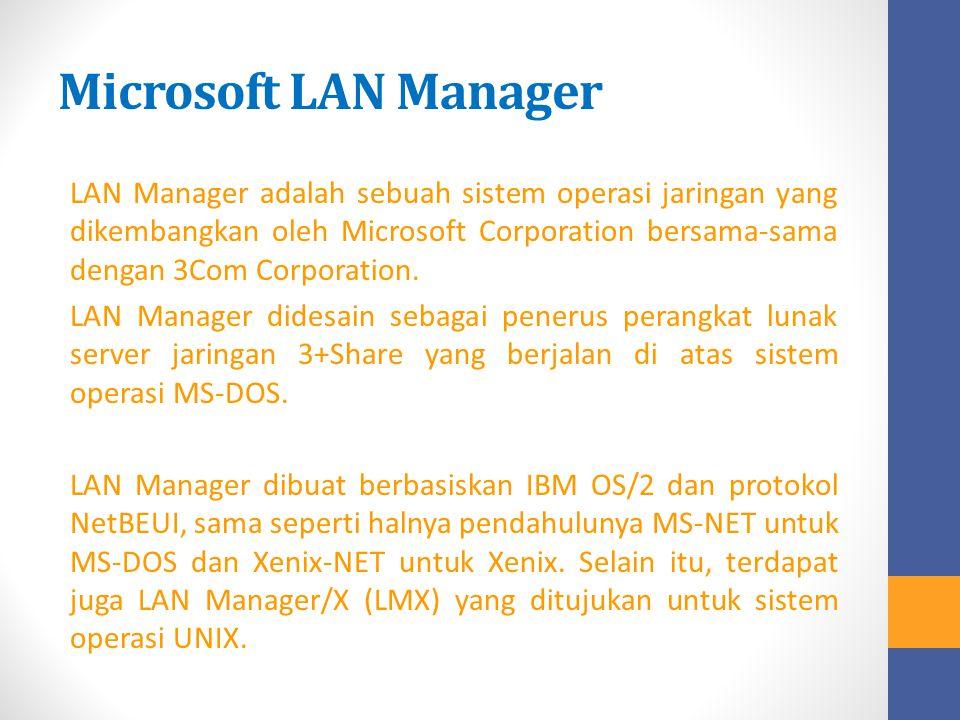 Microsoft LAN Manager LAN Manager adalah sebuah sistem operasi jaringan yang dikembangkan oleh Microsoft Corporation bersama-sama dengan 3Com Corporat