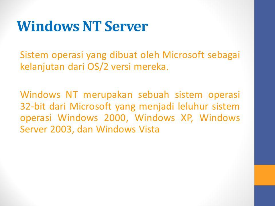 Windows NT Server Sistem operasi yang dibuat oleh Microsoft sebagai kelanjutan dari OS/2 versi mereka. Windows NT merupakan sebuah sistem operasi 32-b