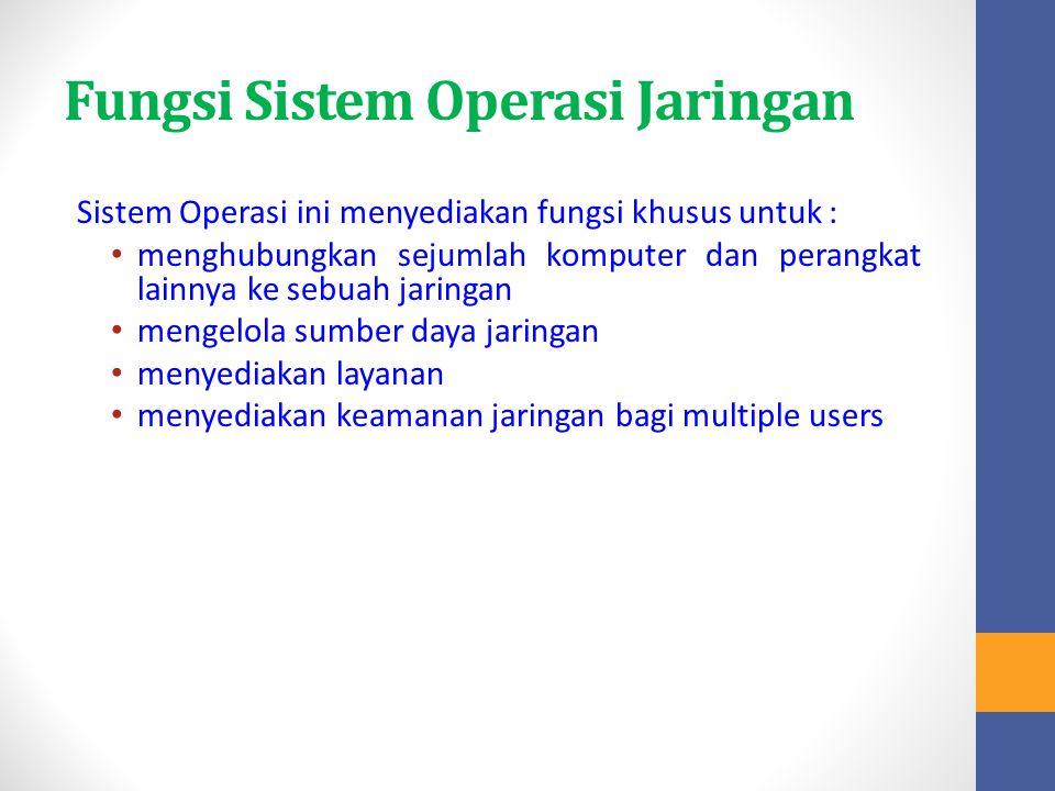 Fungsi Sistem Operasi Jaringan Sistem Operasi ini menyediakan fungsi khusus untuk : menghubungkan sejumlah komputer dan perangkat lainnya ke sebuah ja