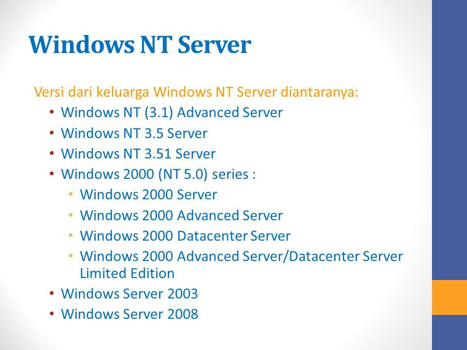 Windows NT Server Versi dari keluarga Windows NT Server diantaranya: Windows NT (3.1) Advanced Server Windows NT 3.5 Server Windows NT 3.51 Server Win