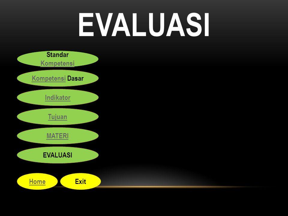 EVALUASI Standar Kompetensi Kompetensi Standar Kompetensi Kompetensi Kompetensi Dasar Indikator Tujuan MATERI EVALUASI HomeExit