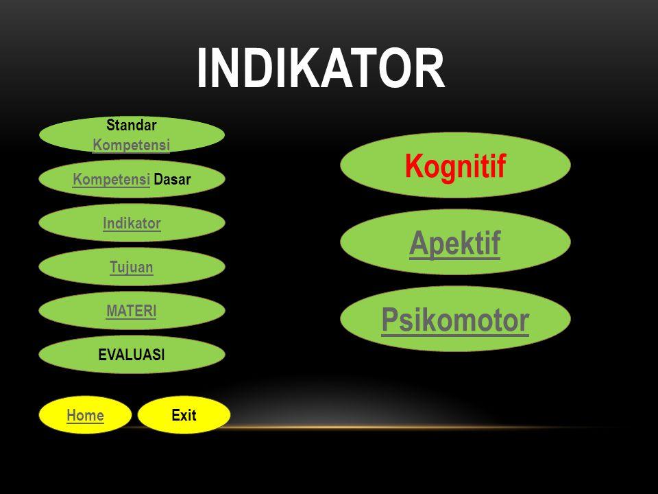 INDIKATOR Kognitif Apektif Psikomotor Standar Kompetensi Kompetensi Standar Kompetensi Kompetensi Kompetensi Dasar Indikator Tujuan MATERI EVALUASI Ho