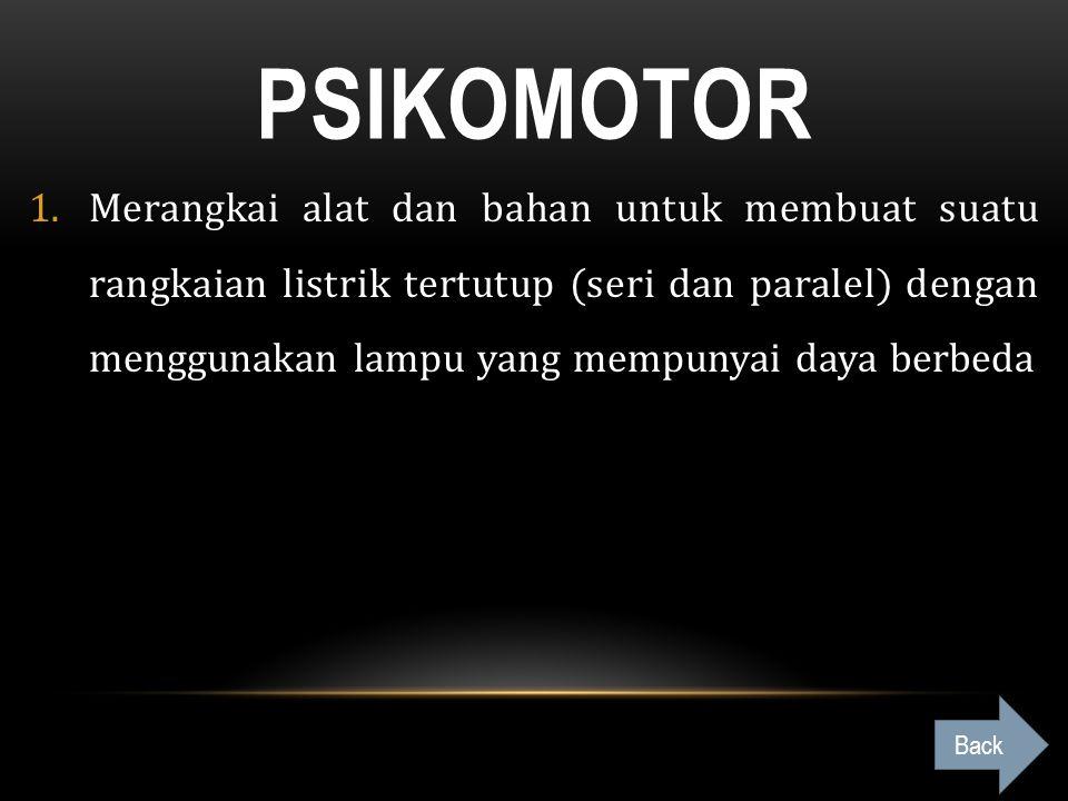 PSIKOMOTOR 1.Merangkai alat dan bahan untuk membuat suatu rangkaian listrik tertutup (seri dan paralel) dengan menggunakan lampu yang mempunyai daya b