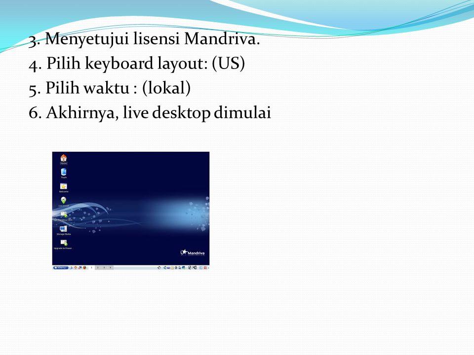 3.Menyetujui lisensi Mandriva. 4. Pilih keyboard layout: (US) 5.