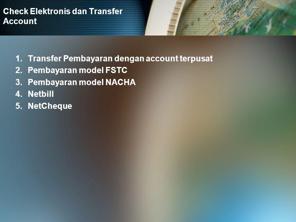 Sistem Pembayaran kas secara elektronis 1.Ecash 2.CAFÉ 3.Netcash 4.Mondex 5.Kartu Cash EMV dan CEPS 6.SmartAxist