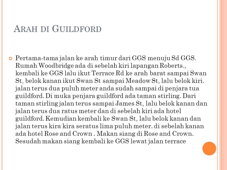 A RAH DI G UILDFORD Pertama-tama jalan ke arah timur dari GGS menuju Sd GGS.